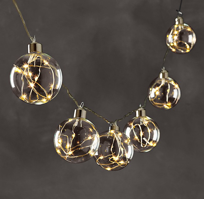 Starry Glass Globe String Lights - Diamond Lights On Silver Wire