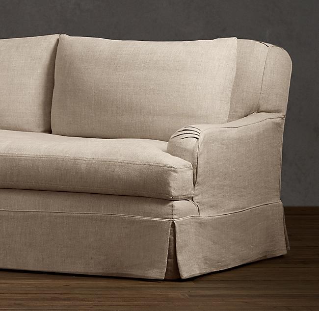 Belgian Clic Roll Arm Slipcovered Three Seat Cushion Sofa