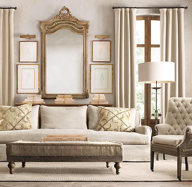 Restoration hardware belgian linen sofa building walnut for Classic furniture restoration