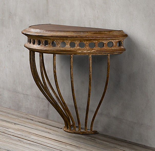 Clean Rust Off Metal >> Cast Iron Demilune Console Table