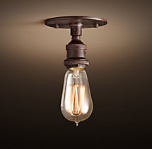 20th C. Factory Filament Bare Bulb Flushmount