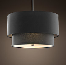 Two-Tier Round Linen Shade Pendant