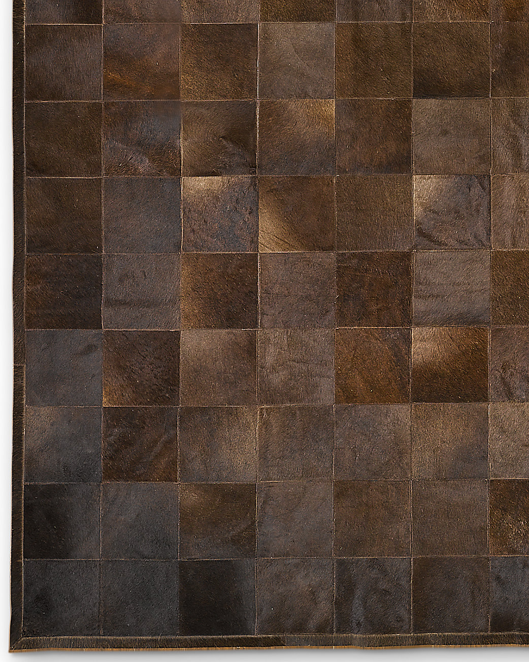 South American Cowhide Tile Rug - Chocolate