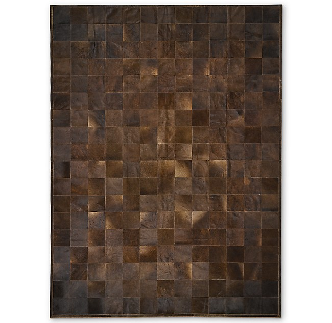 South American Cowhide Tile Rug Chocolate