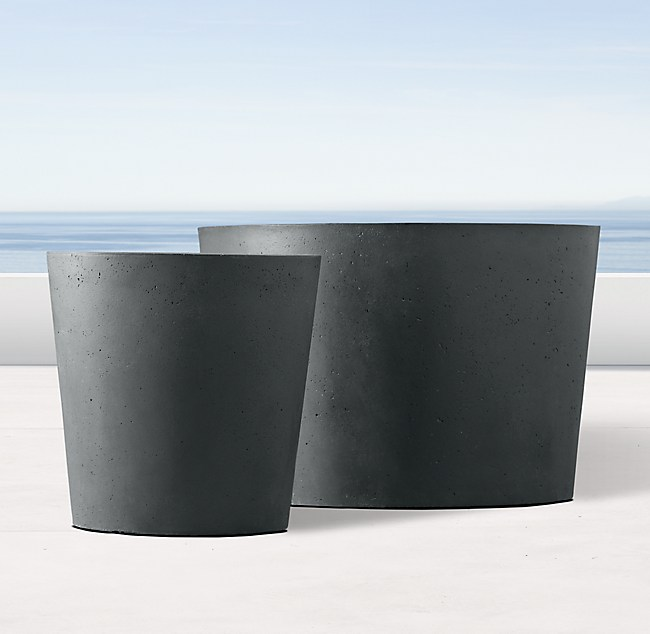 Weathered Cast Stone Round Short Amp Trough Planters