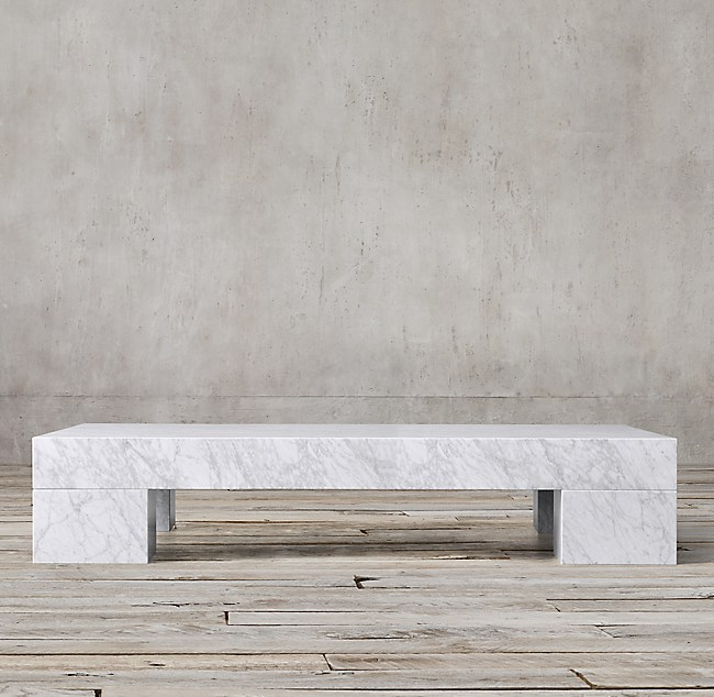 Marble Slab Rectangular Coffee Table - Restoration hardware marble coffee table