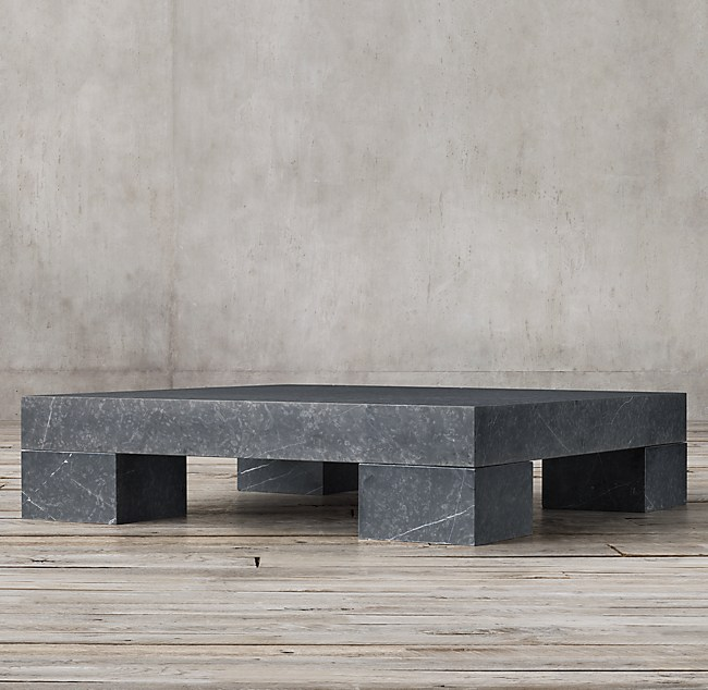 Marble Slab Square Coffee Table - Restoration hardware marble coffee table