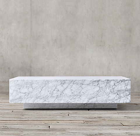 Marble Plinth Collection White Marble RH - All marble coffee table