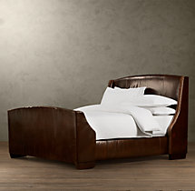 Warner Leather Bed With Footboard With Nailheads