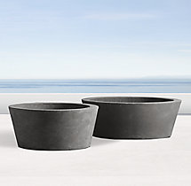 Weathered Cast Stone Round Tabletop Planter