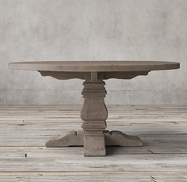 Wood Trestle Round Dining Table