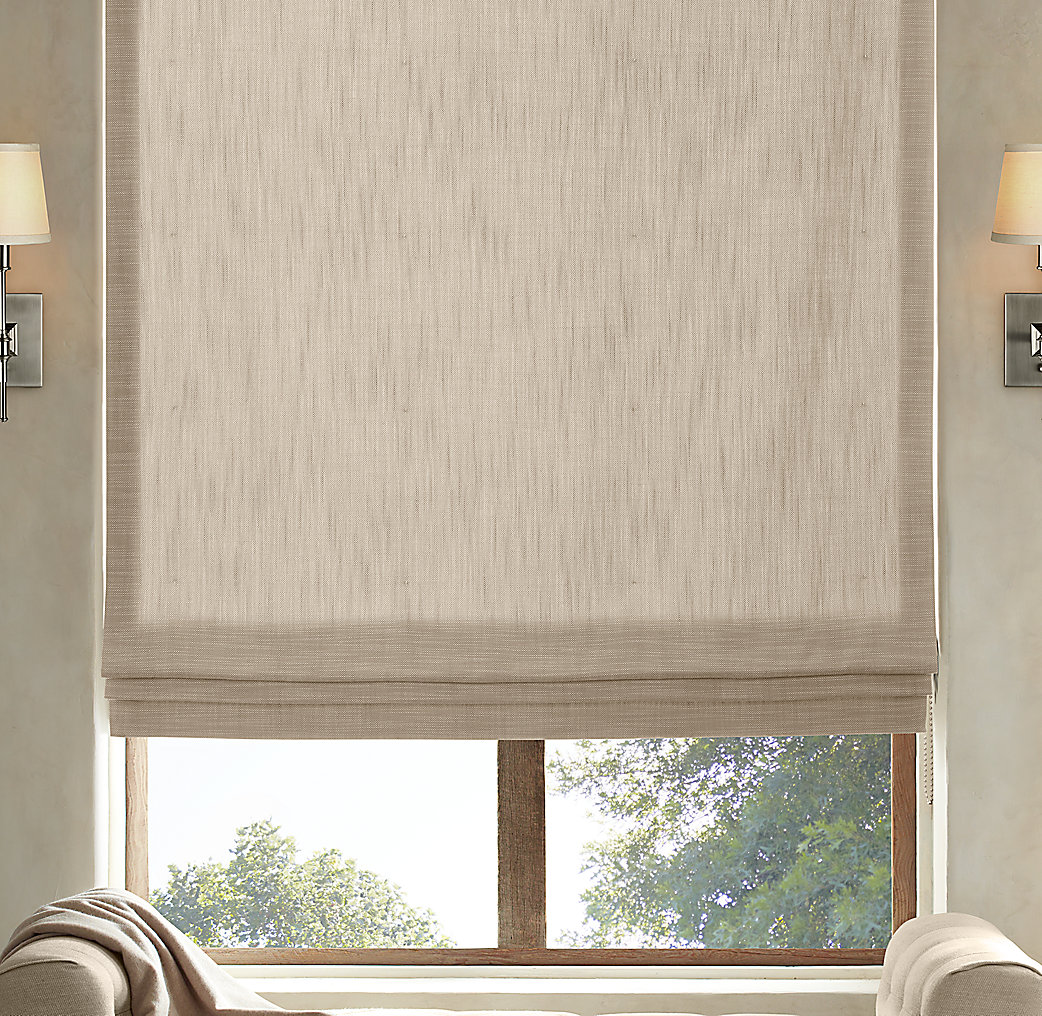 Perennials classic linen flat roman shade for Restoration hardware window shades