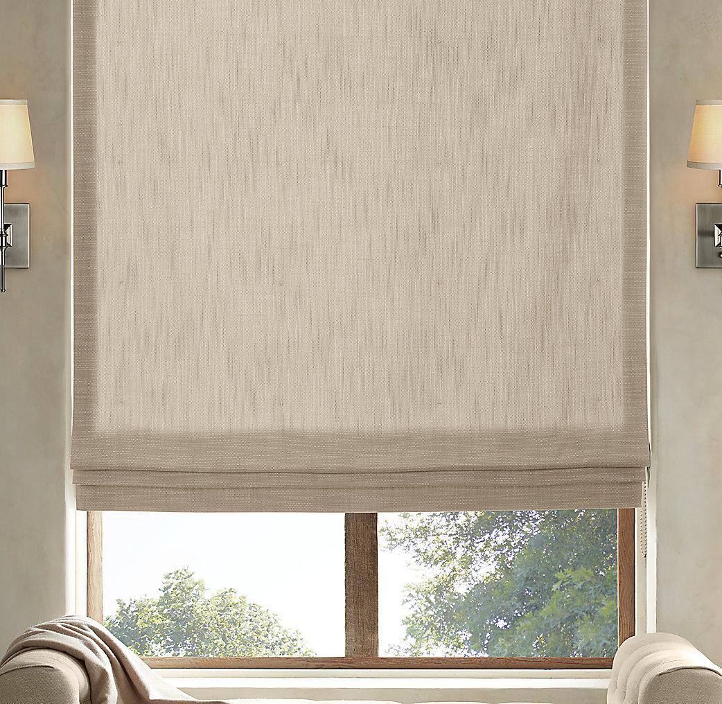 Perennials classic linen flat roman shade for Restoration hardware window shades