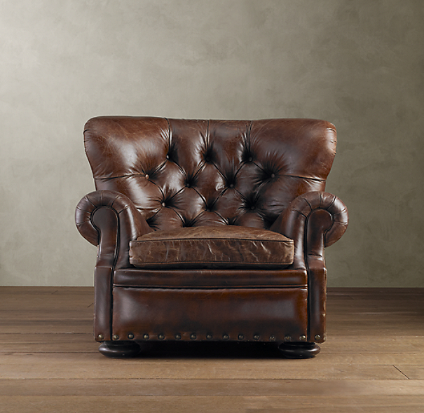 Restoration Hardware Chairs: Churchill Leather Chair With Nailheads