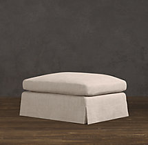 Belgian Classic Roll Arm Slipcovered Ottoman