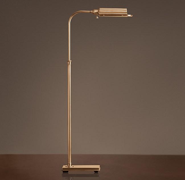 Writer S Task Floor Lamp, Vintage Brass Task Floor Lamp