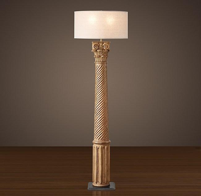 Hand Carved Corinthian Column Floor Lamp Natural