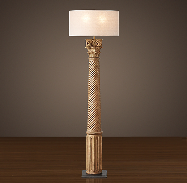 Hand Carved Corinthian Column Floor Lamp Natural