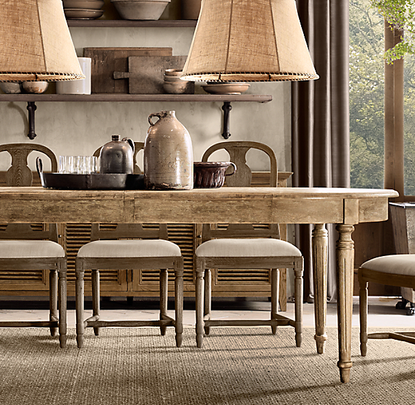Restoration Hardware Kitchen Tables: Shown In Black Oak Drifted