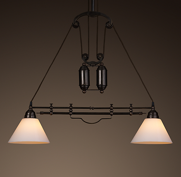 Restoration Hardware Light Fixture Sale: Cartesian Pulley Double Pendant