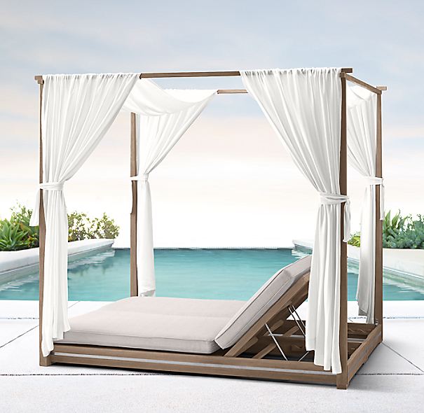 Malta canopy double chaise for Canopy chaise lounge