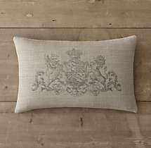Wentworth Crest Vintage-Washed Belgian Linen Pillow Cover - Lumbar