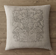 Wentworth Crest Vintage-Washed Belgian Linen Pillow Cover - Square