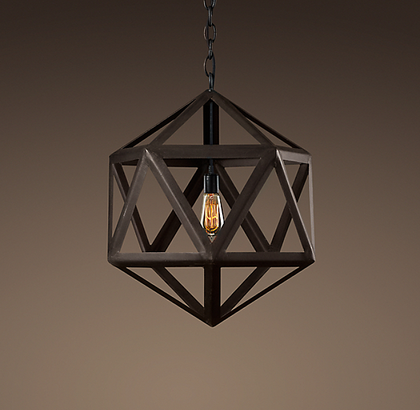 "Steel Polyhedron Pendant 18"""