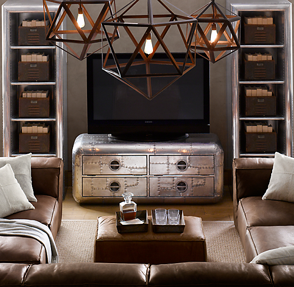 Steel polyhedron pendant 18 for Industrial chic living room