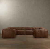 Preconfigured Fulham Leather U-Sofa Sectional