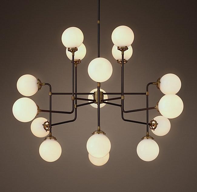 Bistro globe milk glass 16 light chandelier aloadofball Choice Image