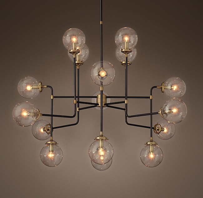 Bistro Globe Clear Glass 16-Light Chandelier