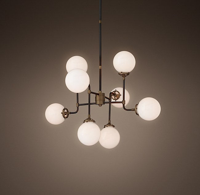 Globe Milk Glass 8-Light Chandelier