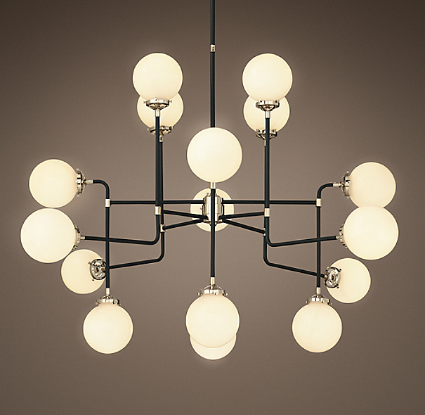 Bistro Globe Milk Glass 16 Light Chandelier