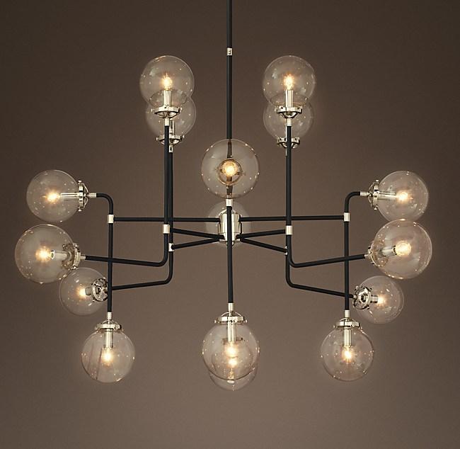 Bistro globe clear glass 16 light chandelier aloadofball Images