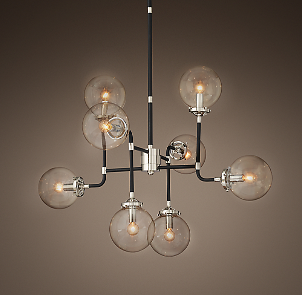 Bistro Globe Clear Glass 8 Light Chandelier