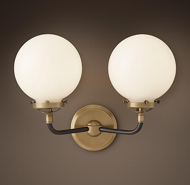 Bathroom Sconce Lighting >> Bistro Globe Milk Glass Double Sconce