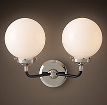 Bistro Globe Milk Glass Double Sconce