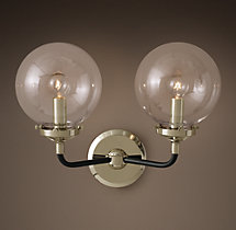 Bistro Globe Clear Glass Double Sconce