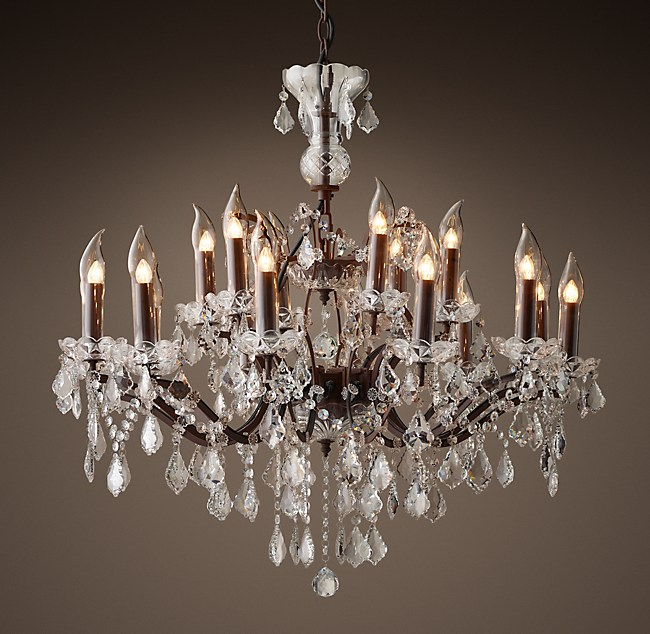 19Th C Rococo Iron Crystal Outdoor Chandelier