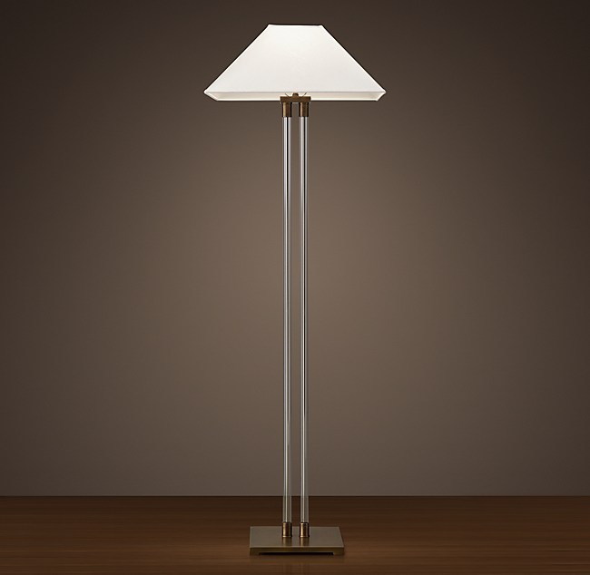 Twin column glass floor lamp