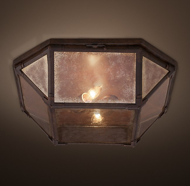 Parisian Octagonal Mirrored Glass Flushmount