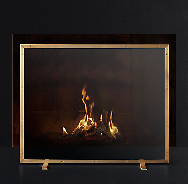 Courchevel Glass Panel Fireplace Screen
