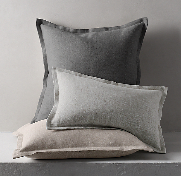Belgian Linen Cross Weave Flanged Pillow Cover Lumbar