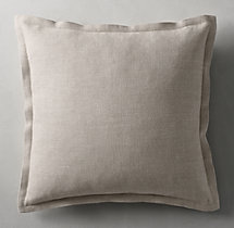 Belgian Linen Cross Weave Flanged Pillow Cover - Square