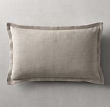 Belgian Linen Cross Weave Flanged Pillow Cover - Lumbar