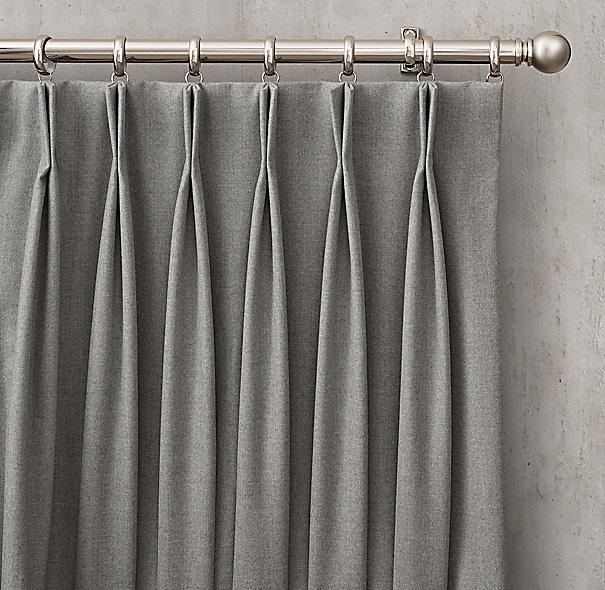 Custom Heathered Wool 2 Fold French Pleat Drapery