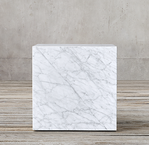 Marble Plinth Cube Side Table