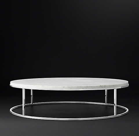 Nicholas Marble Round Collection White Polished Stainless Steel Rh