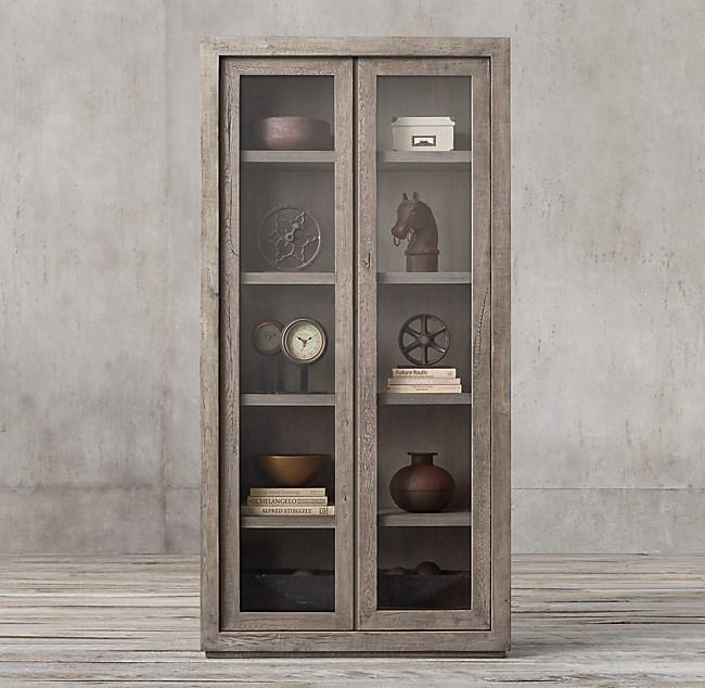 Reclaimed Russian Oak Glass Double Door Cabinet